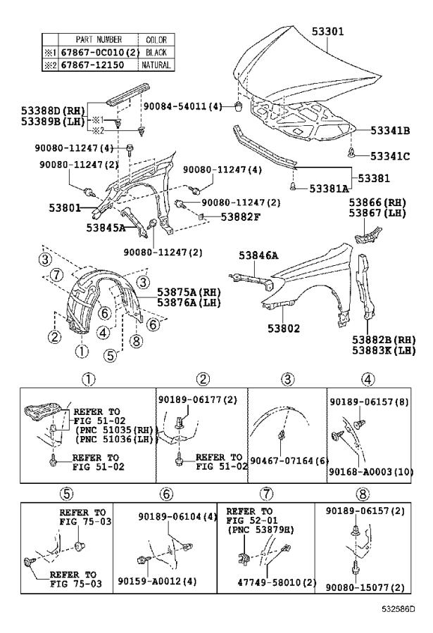 Diagram HOOD & FRONT FENDER for your 1983 Toyota Camry