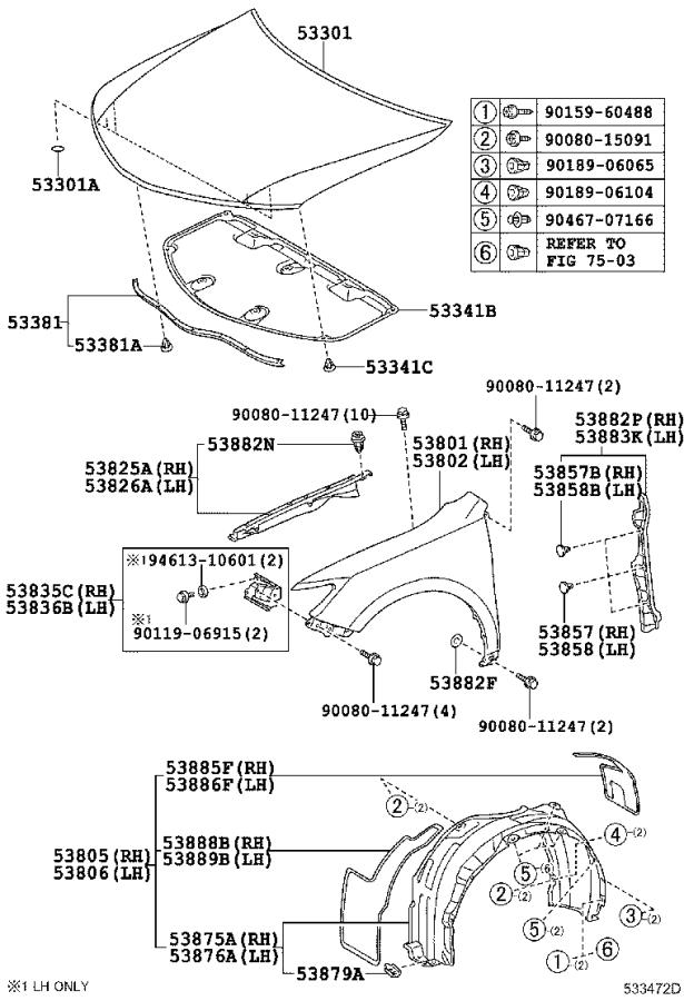 Toyota Camry Retainer  Front Fender Liner  Body  Interior