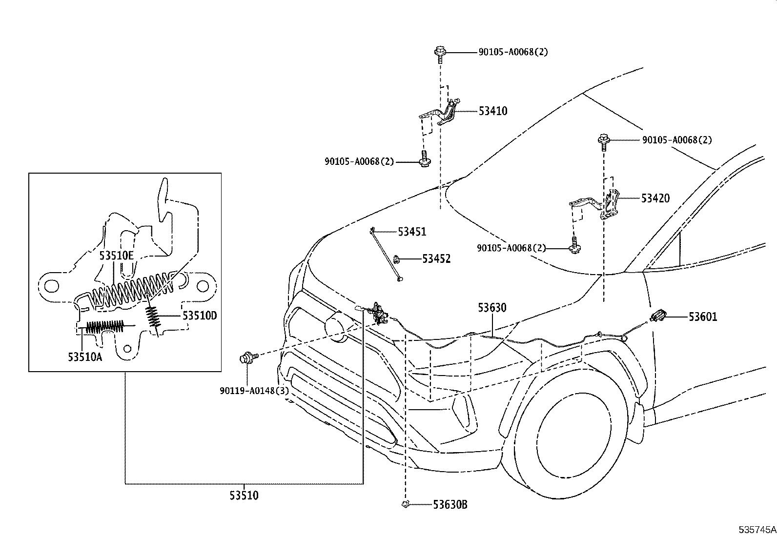 Diagram HOOD LOCK & HINGE for your 2020 Toyota RAV4 VIN: 4T3LWRFV