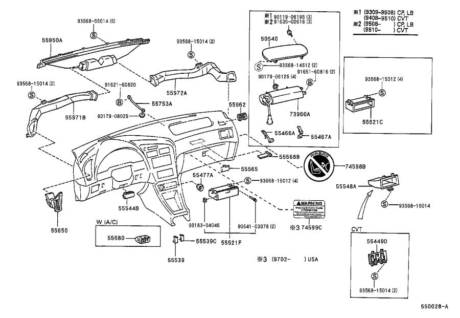 Diagram INSTRUMENT PANEL & GLOVE COMPARTMENT for your 2002 Toyota Prius