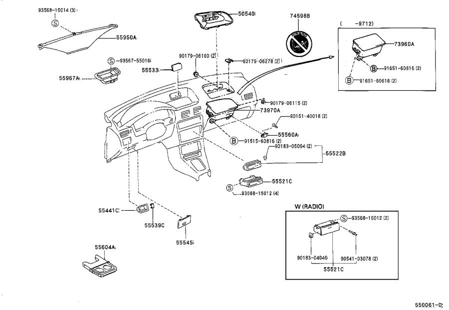 Diagram INSTRUMENT PANEL & GLOVE COMPARTMENT for your 2002 Toyota Land Cruiser