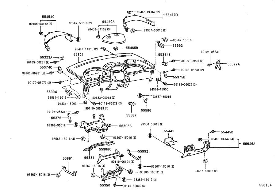 Diagram INSTRUMENT PANEL & GLOVE COMPARTMENT for your Toyota