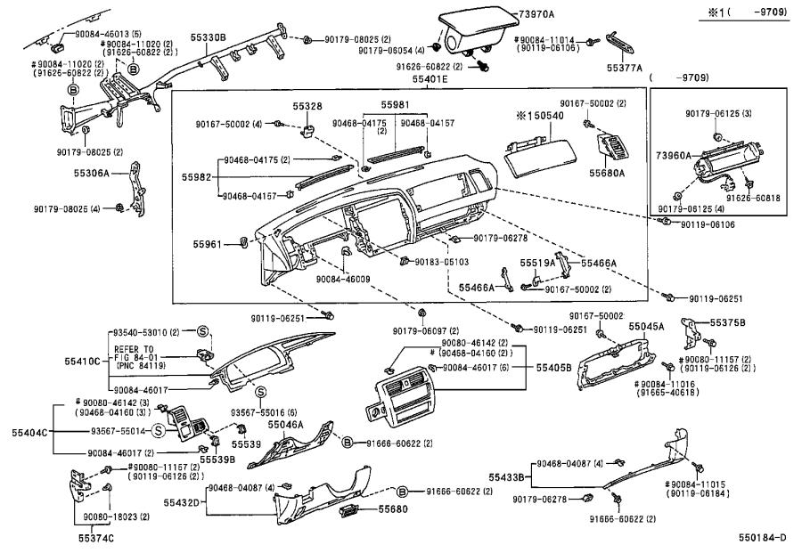 Diagram INSTRUMENT PANEL & GLOVE COMPARTMENT for your 1985 Toyota 4Runner