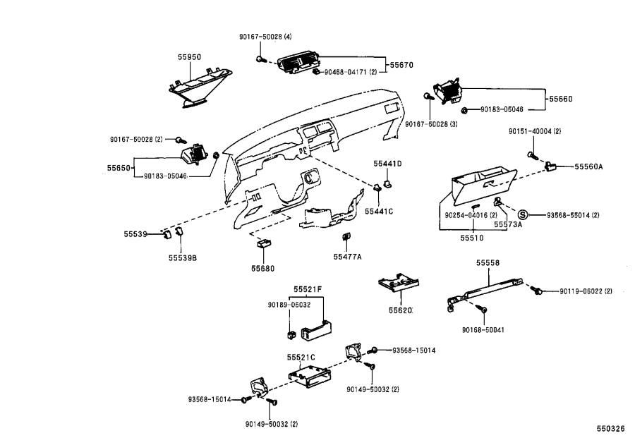 Diagram INSTRUMENT PANEL & GLOVE COMPARTMENT for your 1989 Toyota 4Runner Truck SR-5, GLX WAGON