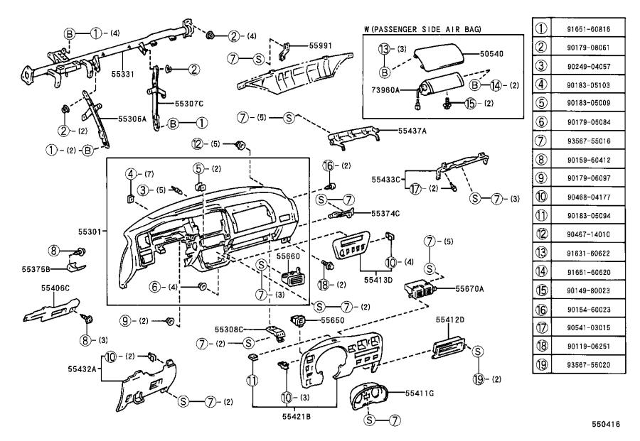 Diagram INSTRUMENT PANEL & GLOVE COMPARTMENT for your 1990 Toyota 4Runner