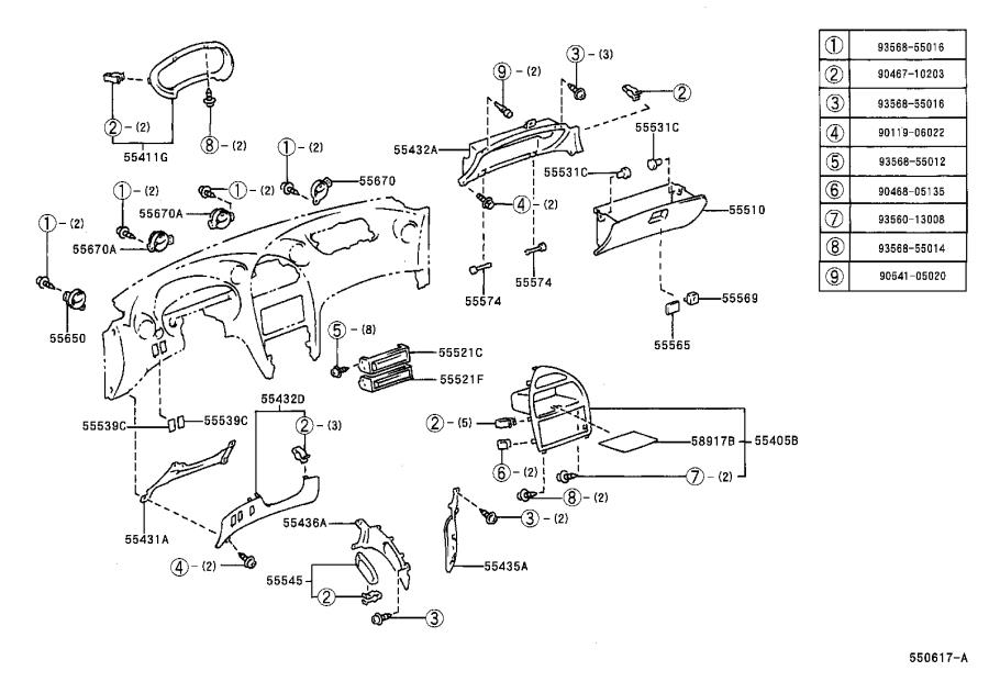 Diagram INSTRUMENT PANEL & GLOVE COMPARTMENT for your 1996 Toyota Celica