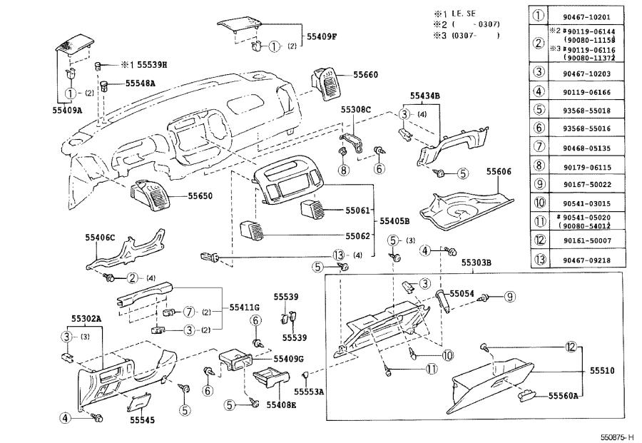 Diagram INSTRUMENT PANEL & GLOVE COMPARTMENT for your 1992 Toyota T100