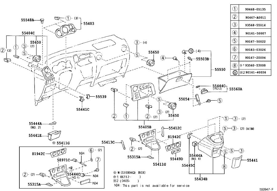 Diagram INSTRUMENT PANEL & GLOVE COMPARTMENT for your 1996 Toyota 4Runner SR5