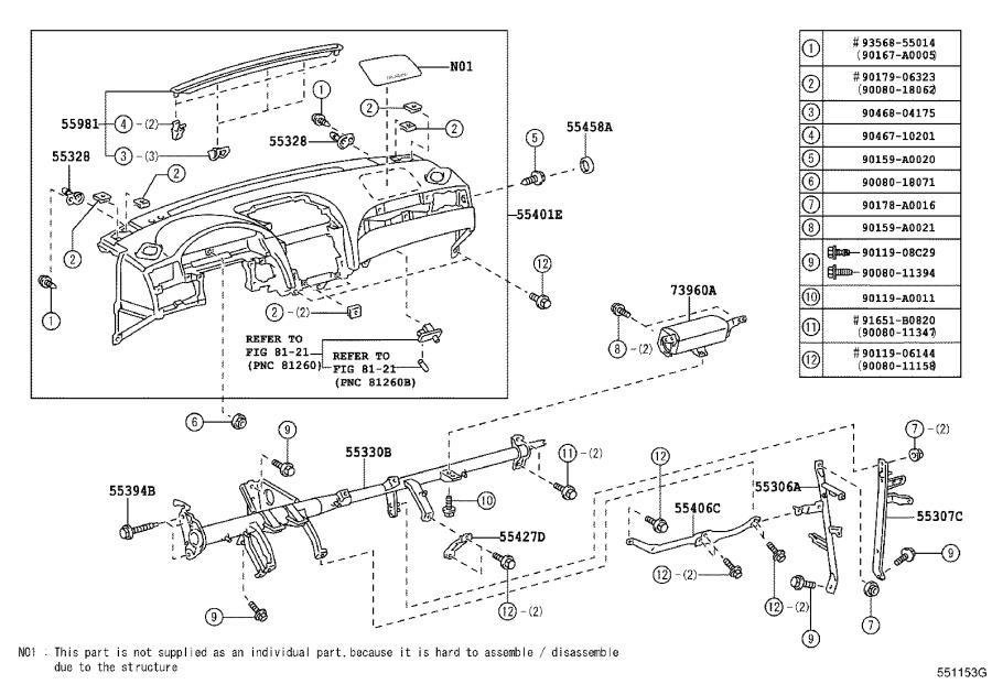 Diagram INSTRUMENT PANEL & GLOVE COMPARTMENT for your 1992 Toyota 4Runner