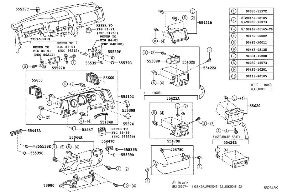 Diagram INSTRUMENT PANEL & GLOVE COMPARTMENT for your 2012 Toyota Tundra