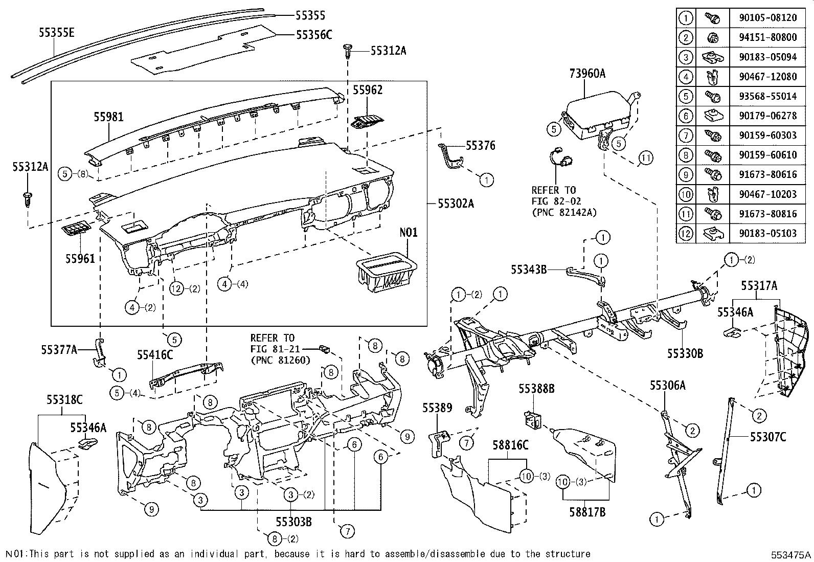 Diagram INSTRUMENT PANEL & GLOVE COMPARTMENT for your Toyota Corolla iM