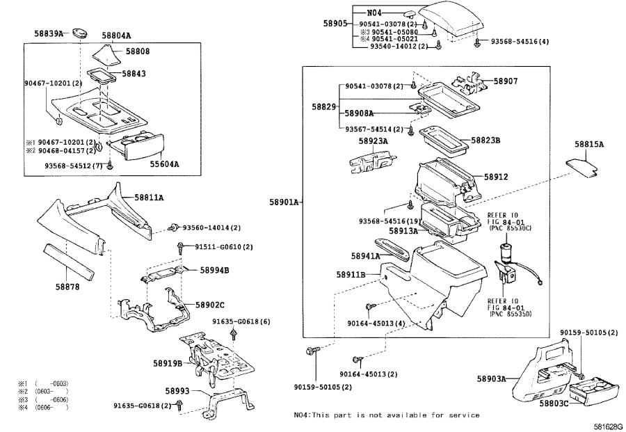 Diagram CONSOLE BOX & BRACKET for your 2002 Toyota Land Cruiser