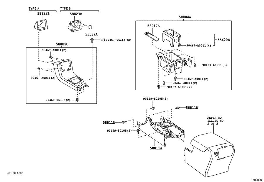Diagram CONSOLE BOX & BRACKET for your 2012 Toyota Tundra