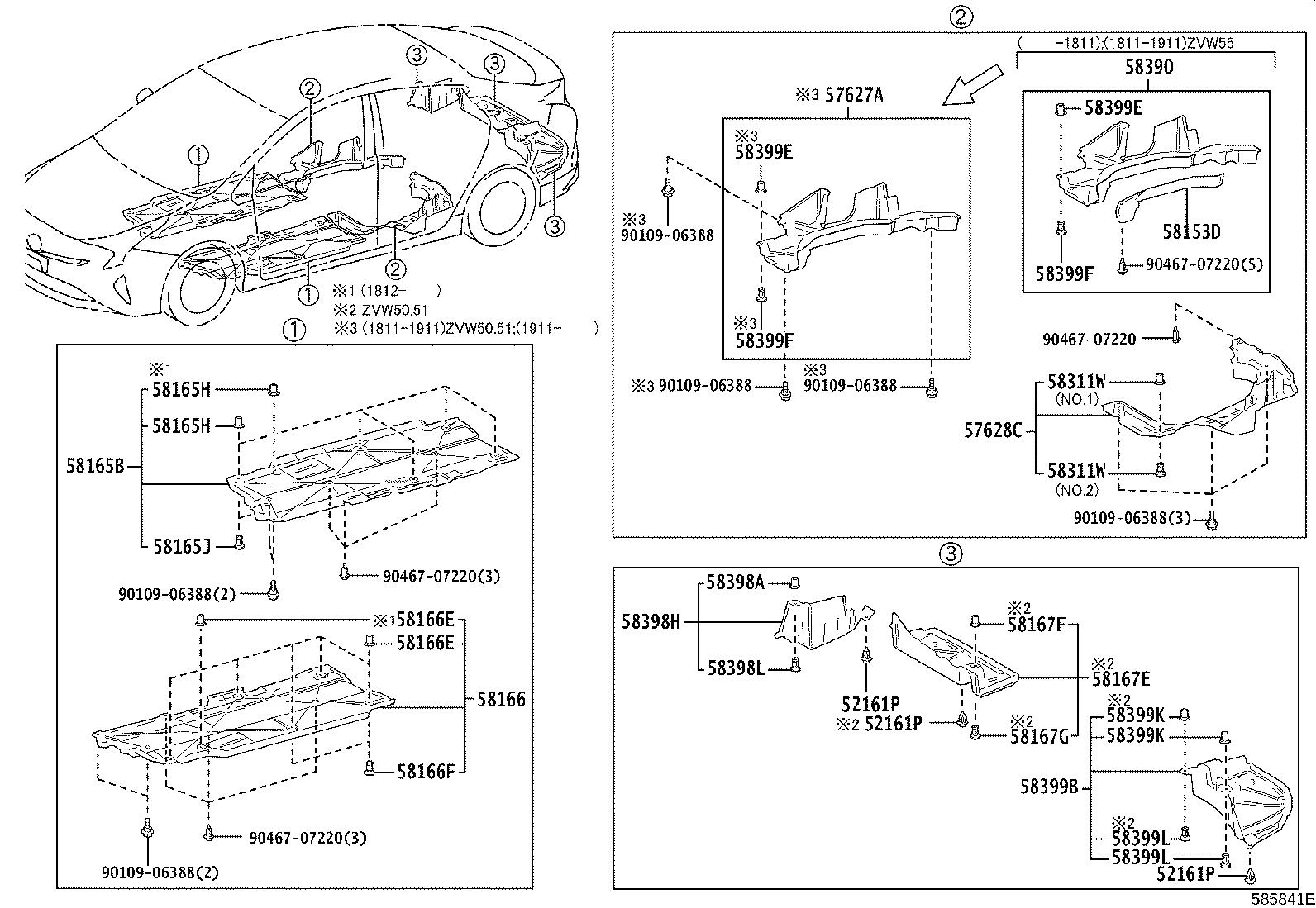 Diagram FLOOR PAN & LOWER BACK PANEL for your 2020 Toyota Prius