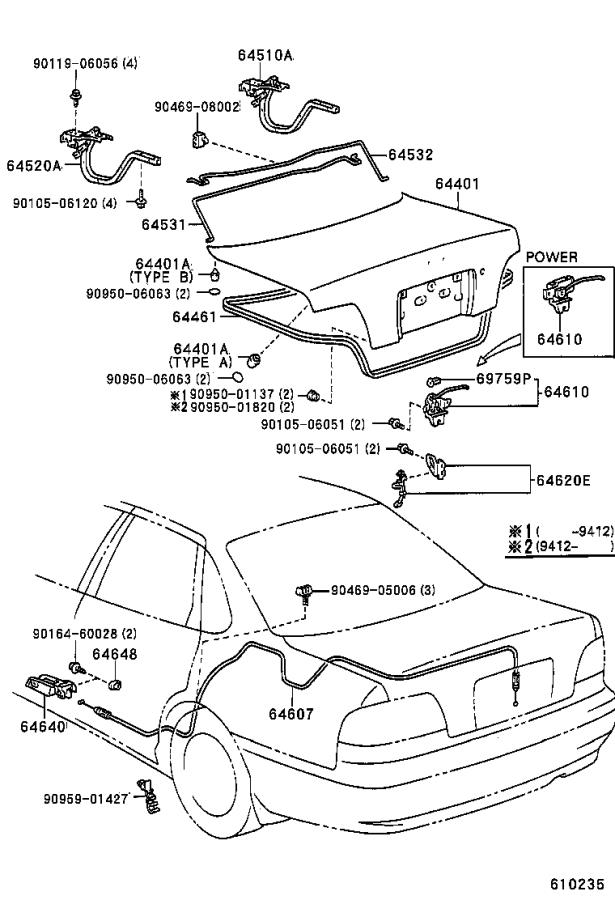 Diagram LUGGAGE COMPARTMENT DOOR & LOCK for your 1995 Toyota Avalon