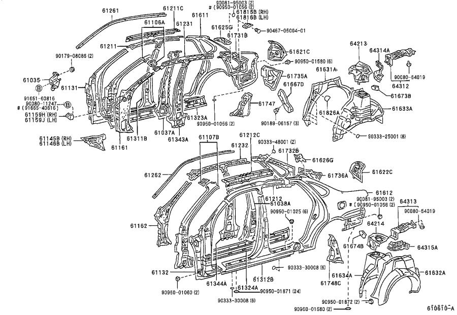 Diagram SIDE MEMBER for your 2000 Toyota Tundra