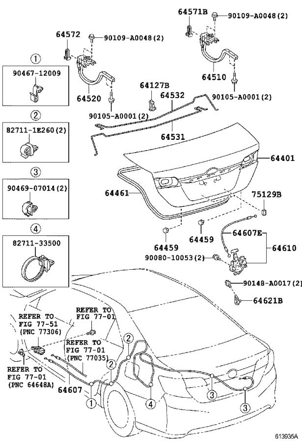 Diagram LUGGAGE COMPARTMENT DOOR & LOCK for your 2014 Toyota Camry