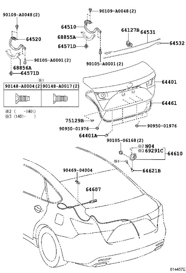 Diagram LUGGAGE COMPARTMENT DOOR & LOCK for your 2001 Toyota Camry