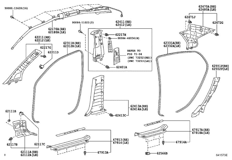 Diagram INSIDE TRIM BOARD & DOOR OPENING TRIM MOULDING for your 2004 Toyota RAV4
