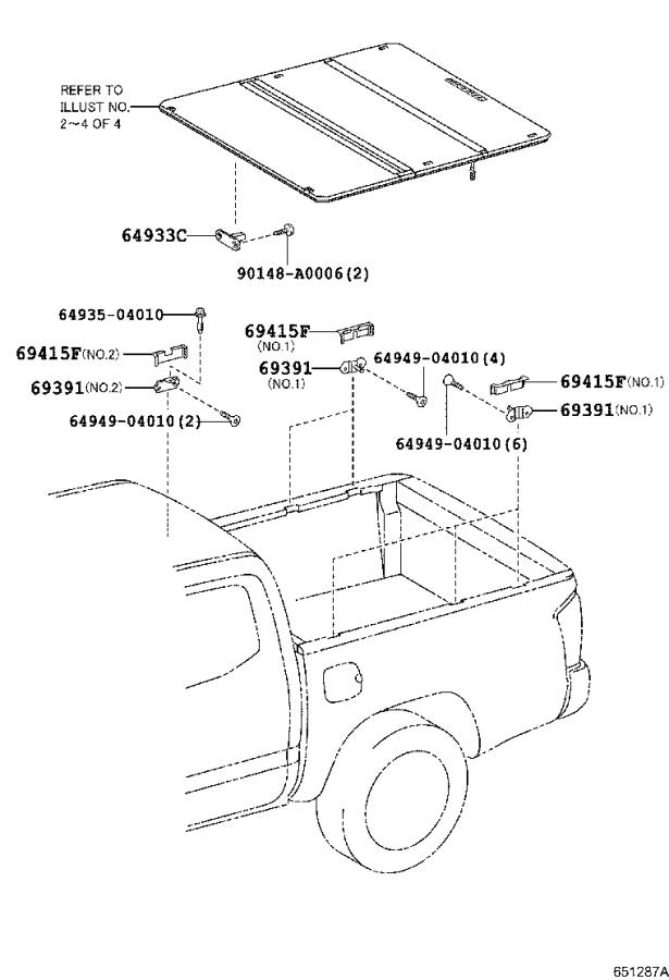 Tacoma Bed Extender >> 2017 Toyota Tacoma Cover, tonneau cover release cable, center. Body, deck, interior - 6496404050 ...