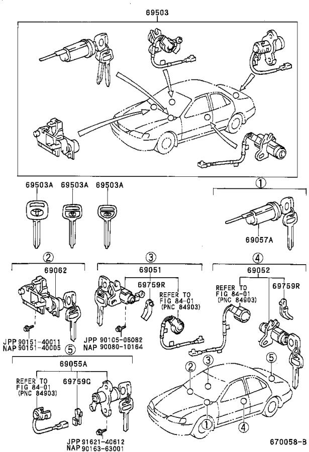 Diagram LOCK CYLINDER SET for your 1985 Toyota Camry