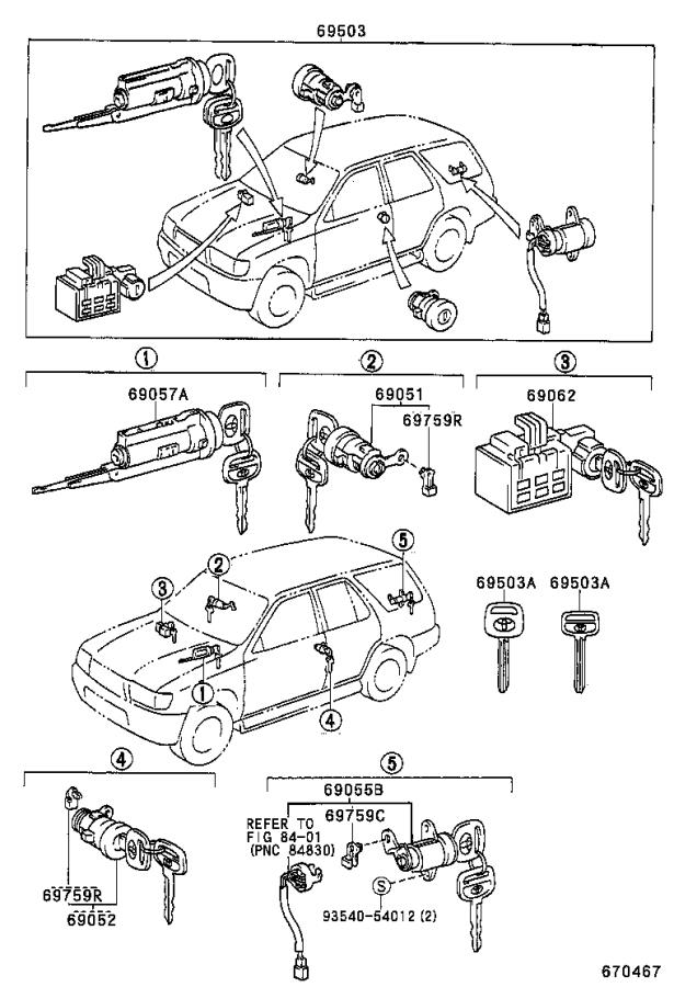 Diagram LOCK CYLINDER SET for your 1996 Toyota 4Runner