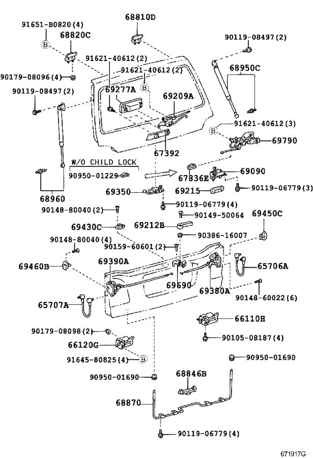 Diagram BACK DOOR LOCK & HINGE for your 2007 Toyota Land Cruiser