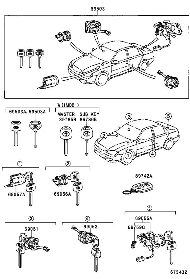 Diagram LOCK CYLINDER SET for your 1992 Toyota 4Runner