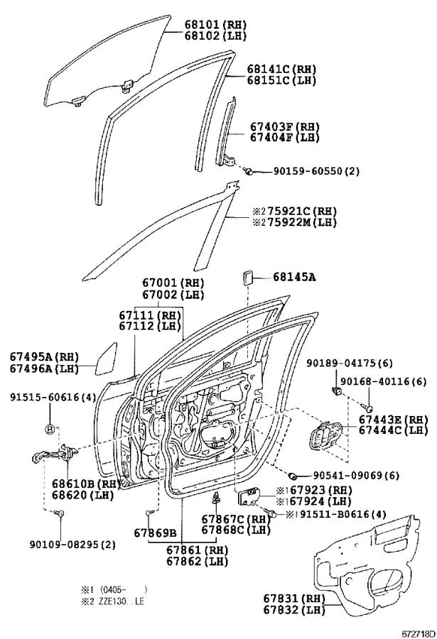 2007 Toyota Corolla Door Diagram