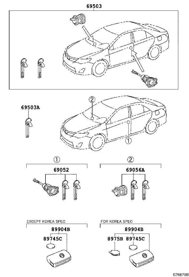 Toyota Camry Glove Box Lock Kit  Rear   Smart  Entry  Door - 6905606100