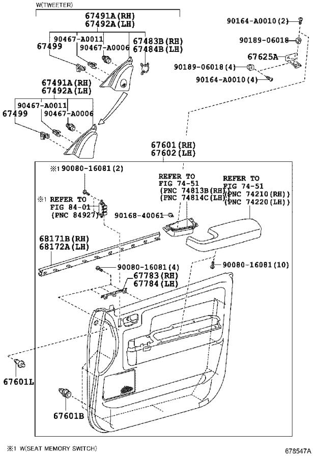 Diagram FRONT DOOR PANEL & GLASS for your 2011 Toyota Tundra