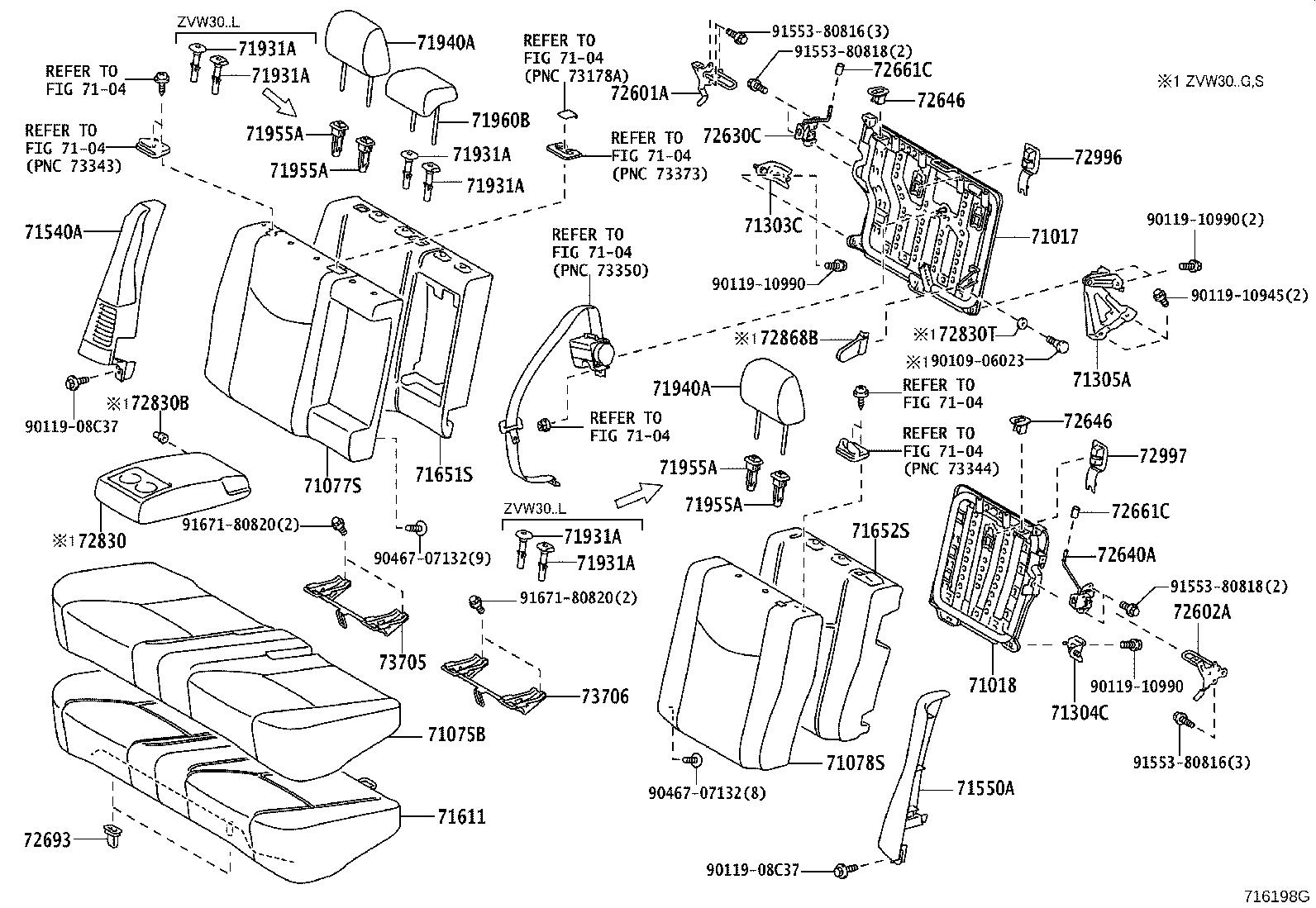 Diagram REAR SEAT & SEAT TRACK for your 2002 Toyota Prius