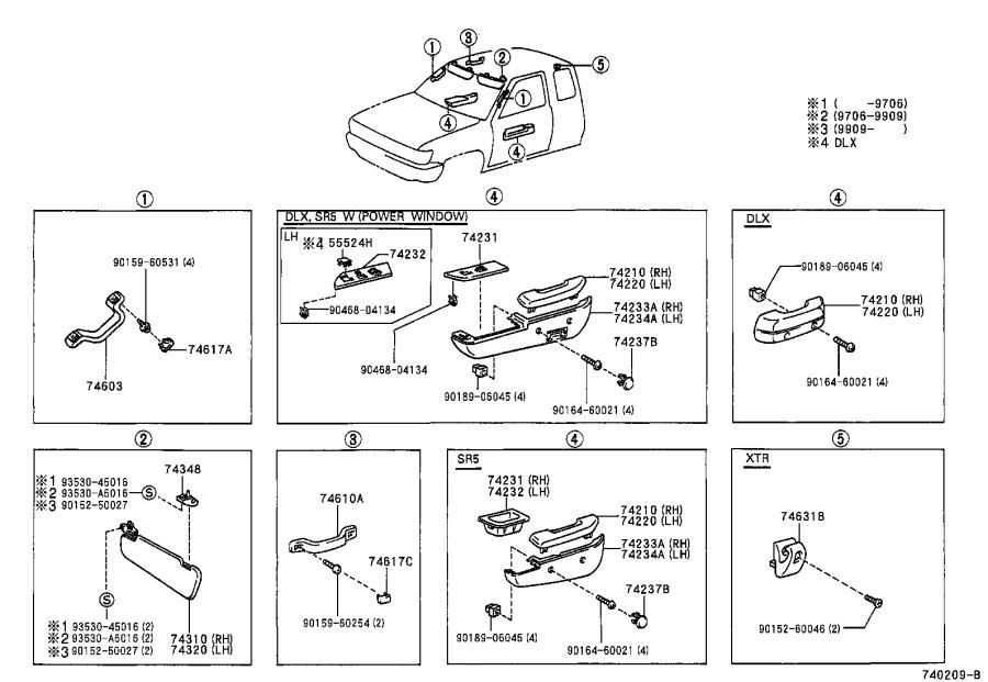 Diagram ARMREST & VISOR for your 2001 Toyota Tundra
