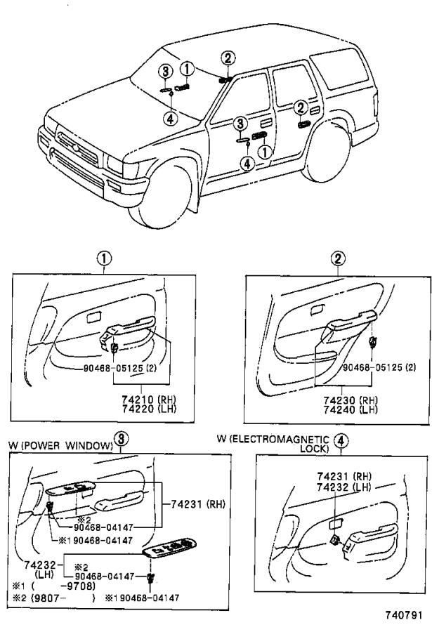Diagram ARMREST & VISOR for your 1999 Toyota 4Runner LIMITED