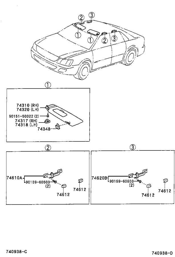 Diagram ARMREST & VISOR for your 2003 Toyota Camry