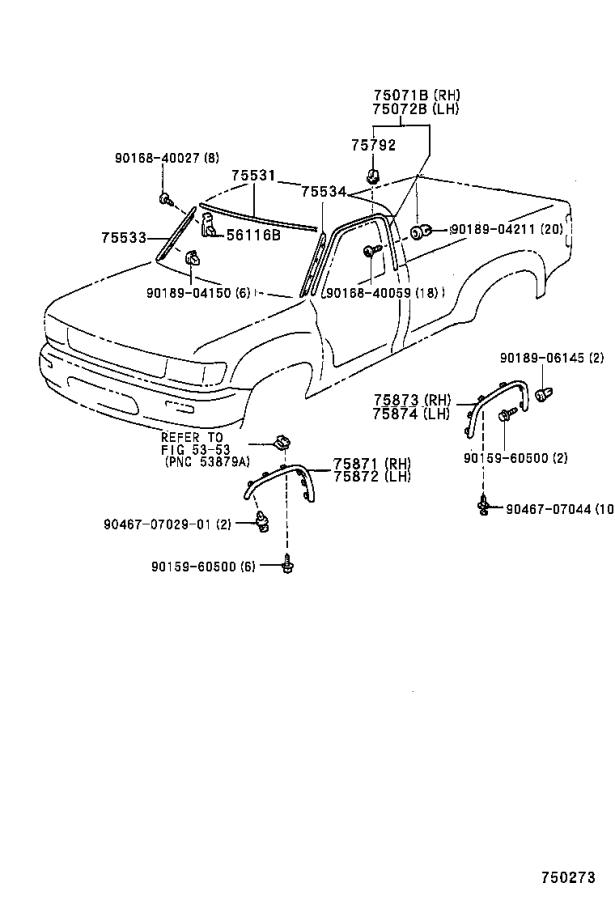 Diagram MOULDING for your 1992 Toyota T100