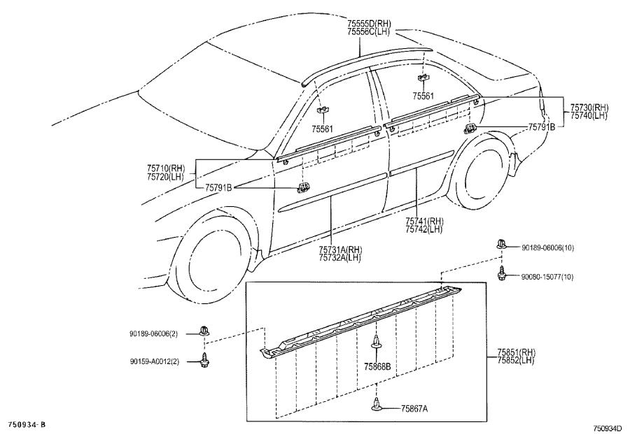 Diagram SIDE MOULDING for your 1984 Toyota Camry