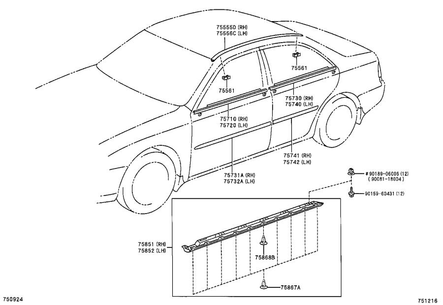 Diagram SIDE MOULDING for your 2011 Toyota Camry