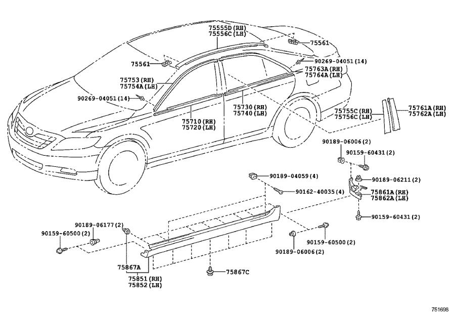 Diagram SIDE MOULDING for your 2007 Toyota Camry