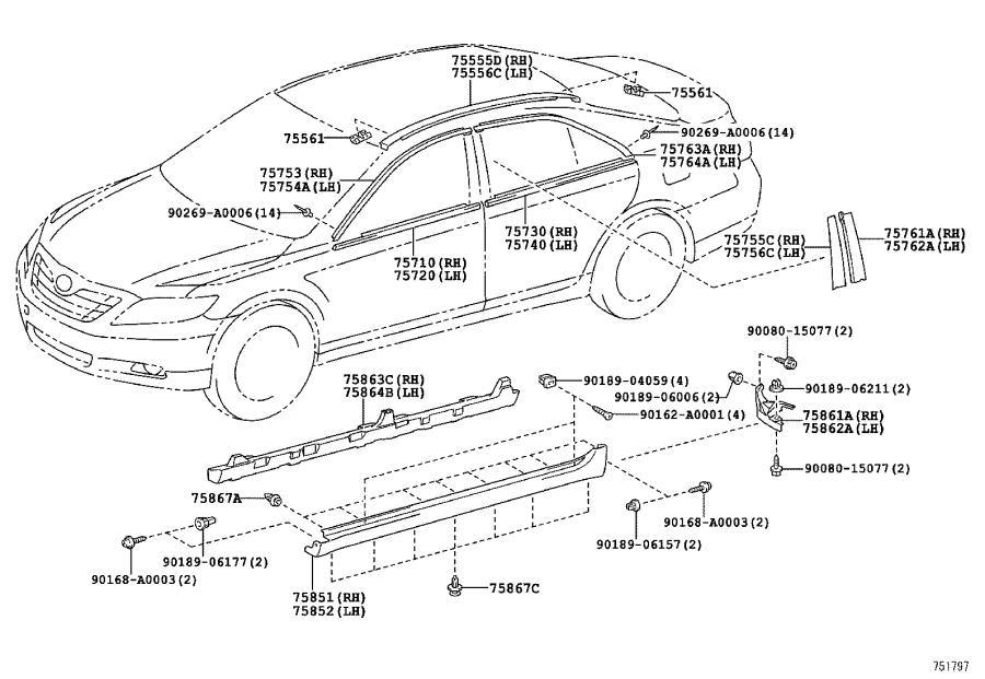 Diagram SIDE MOULDING for your 2008 Toyota Camry