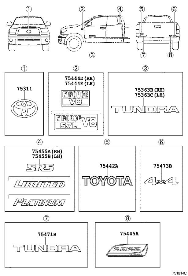 Diagram EMBLEM & NAME PLATE for your 2019 Toyota Tundra