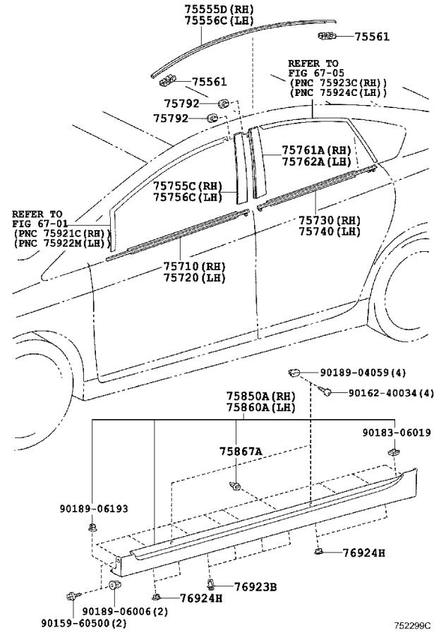 Diagram SIDE MOULDING for your 2020 Toyota Highlander