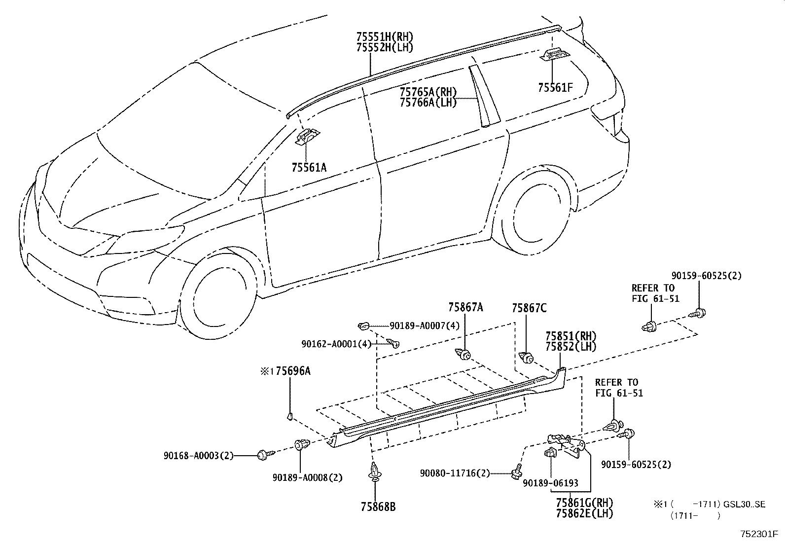 Diagram MOULDING for your 2004 Toyota RAV4