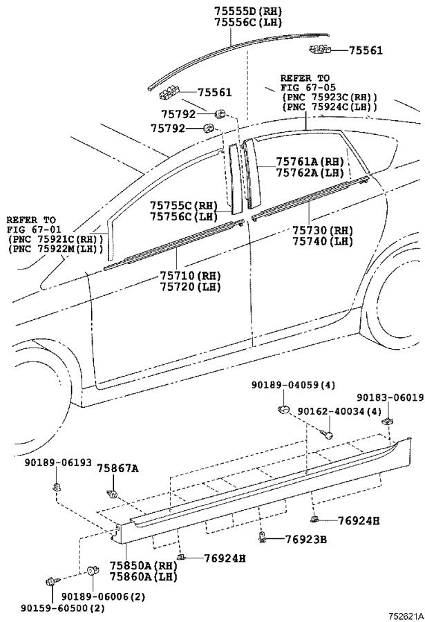 Diagram SIDE MOULDING for your 1993 Toyota Camry