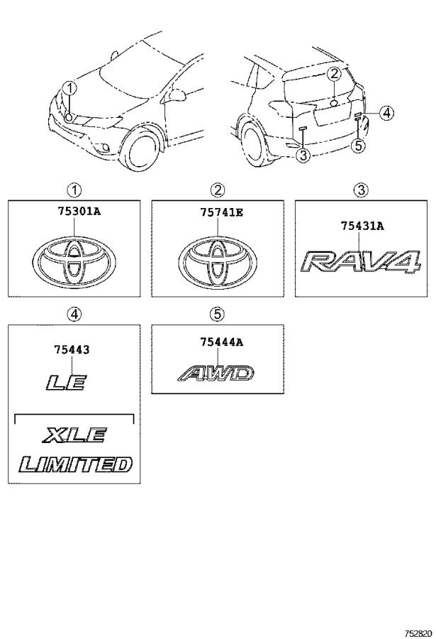 EMBLEM & NAME PLATE Diagram