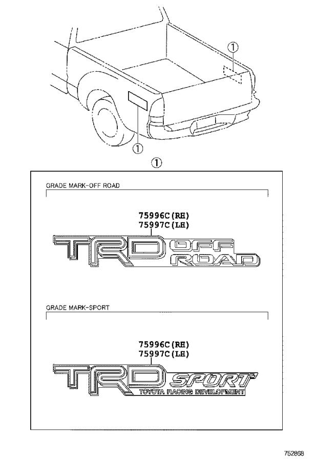 2014 Toyota Tacoma Pickup Box Decal  Left  Right  Rear