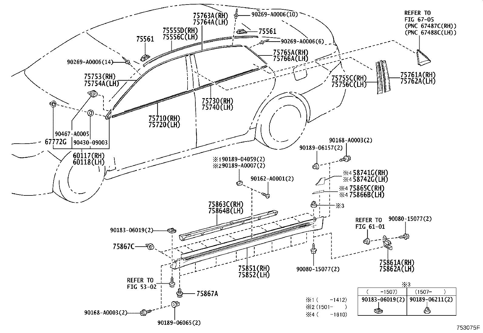 Diagram SIDE MOULDING for your 2004 Toyota RAV4