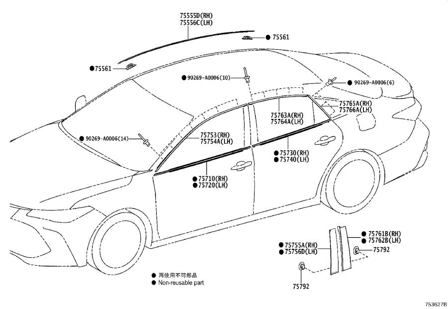 Diagram SIDE MOULDING for your 2020 Toyota Avalon