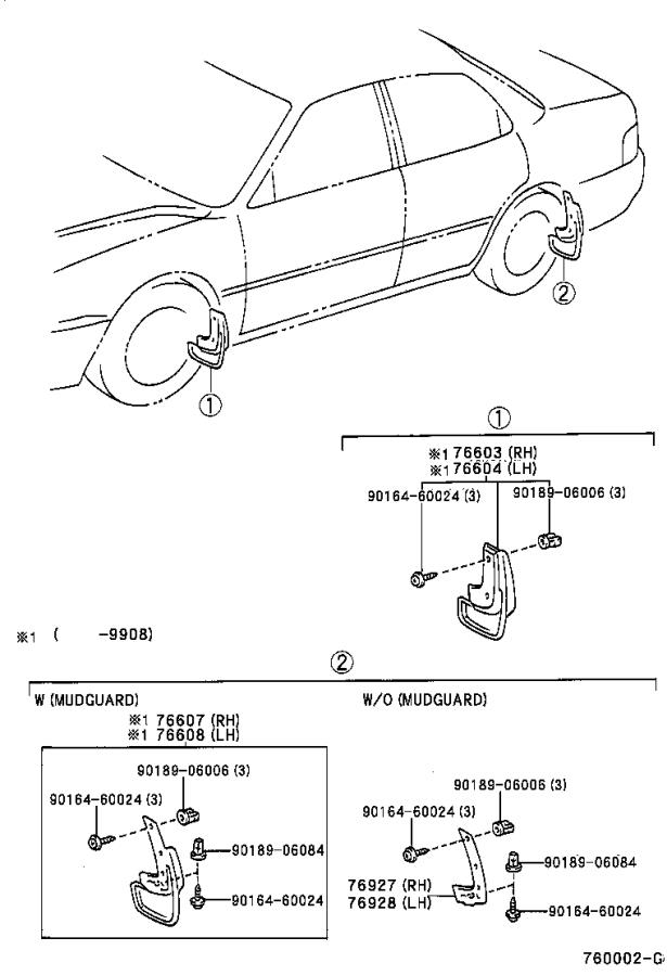 Diagram MUDGUARD & SPOILER for your 1998 Toyota Camry