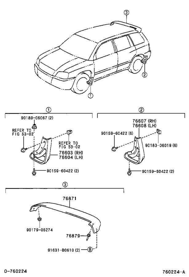 Diagram MUDGUARD & SPOILER for your 2005 Toyota Solara